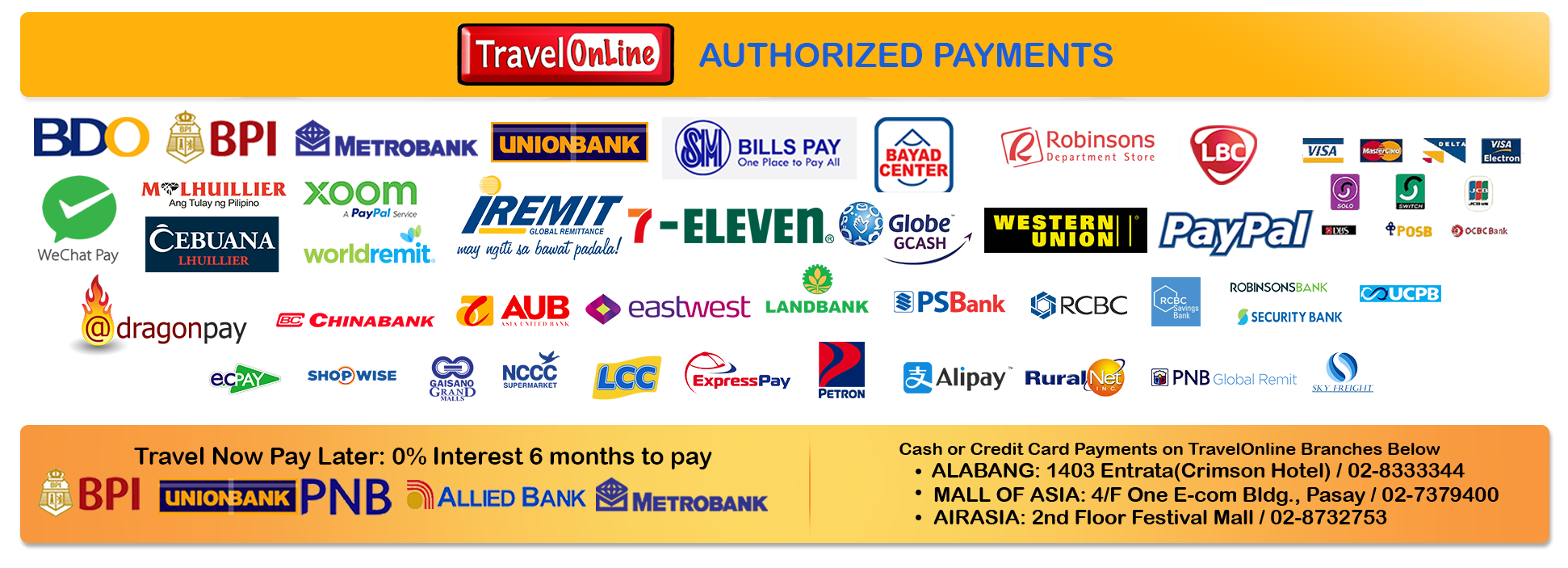 TravelOnline Philippines Travel Agency Contact Page
